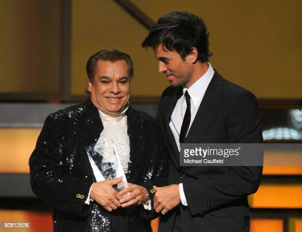 Singers Juan Gabriel and Enrique Iglesias onstage at the 10th Annual Latin GRAMMY Awards held at the Mandalay Bay Events Center on November 5 2009 in...
