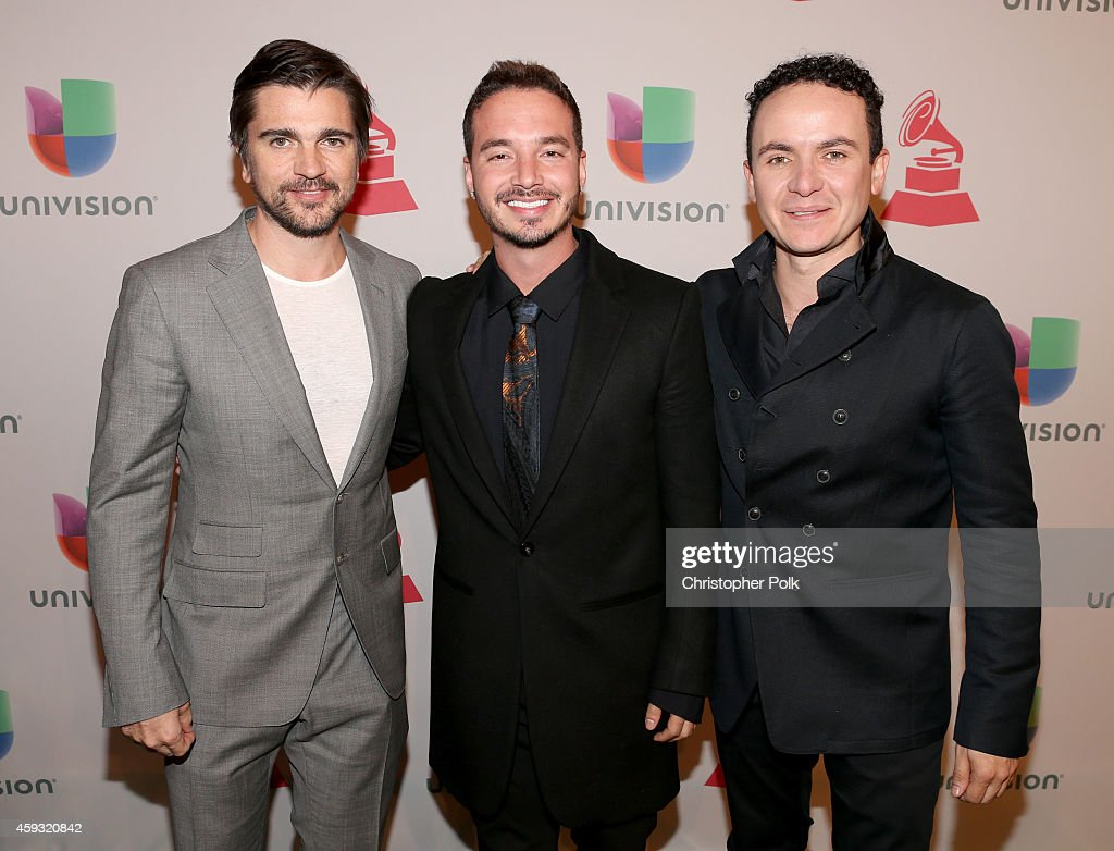 Singers Juanes, J Balvin and Fonseca attend the 15th Annual Latin GRAMMY Awards at the MGM Grand Garden Arena on November 20, 2014 in Las Vegas, Nevada.