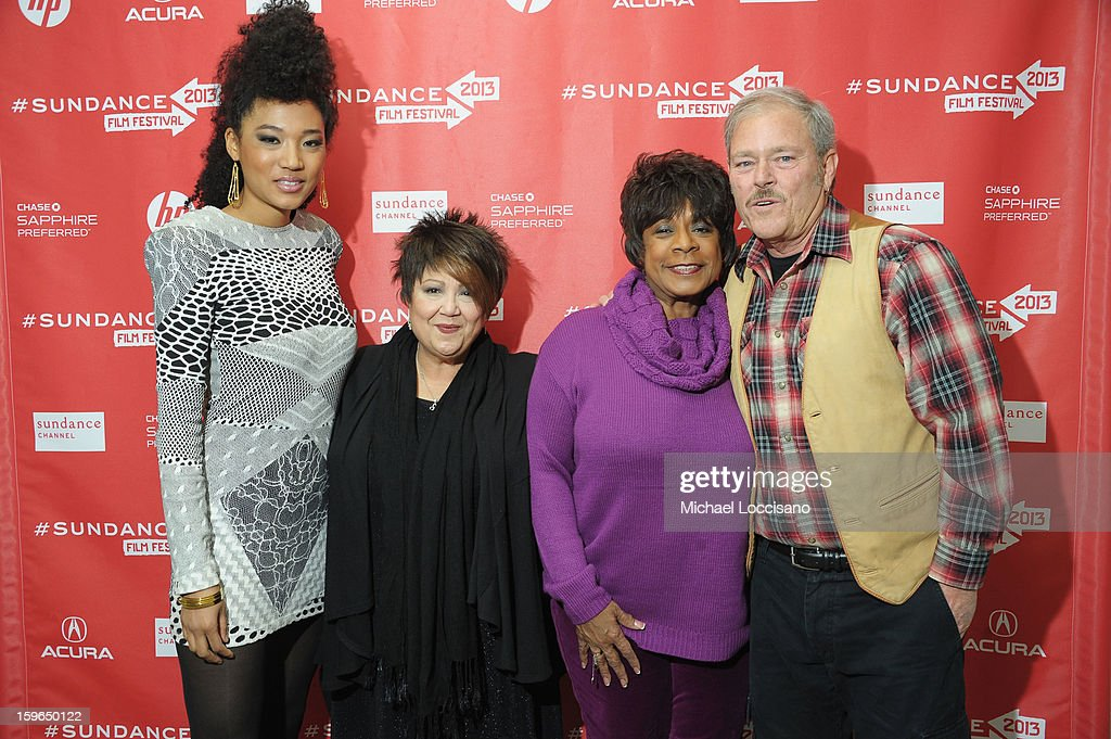 Singers Judith Hill, Tata Vega, Merry Clayton and mayor <a gi-track='captionPersonalityLinkClicked' href=/galleries/search?phrase=Dana+Williams+-+Politician&family=editorial&specificpeople=15185031 ng-click='$event.stopPropagation()'>Dana Williams</a> attend the 'Twenty Feet From Stardom' premiere during the 2013 Sundance Film Festival at Eccles Center Theatre on January 17, 2013 in Park City, Utah.