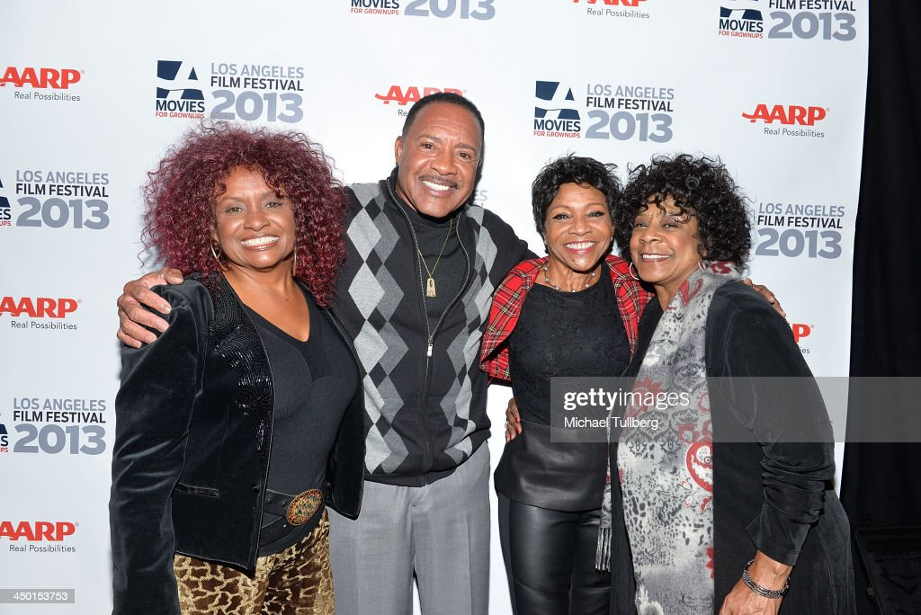 Singers Julia Waters, Oren Waters, <a gi-track='captionPersonalityLinkClicked' href=/galleries/search?phrase=Maxine+Waters&family=editorial&specificpeople=220525 ng-click='$event.stopPropagation()'>Maxine Waters</a> and Merry Clayton attend a Q&A session at a screening of '20 Feet From Stardom' at AARP's Movies For Grownups Film Festival 2013 at Regal Cinemas L.A. Live on November 16, 2013 in Los Angeles, California.