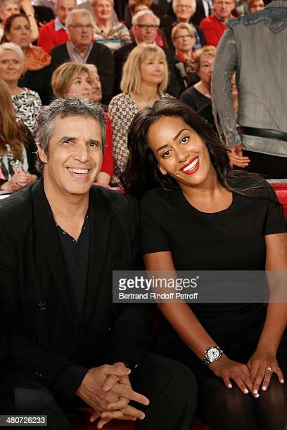 Singers Julien Clerc and Amel Bent pose during the recording of Michel Drucker's 'Vivement Dimanche' weekly show at Pavillon Gabriel on March 26 2014...