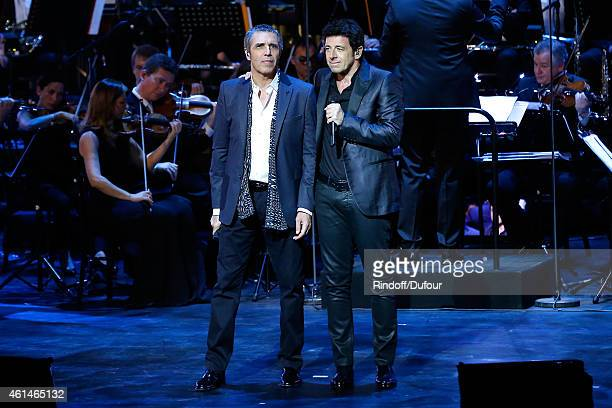 Singers Julien Clerc and Patrick Bruel perform during Weizmann Institute celebrates its 40 Anniversary at Opera Garnier in Paris on January 12 2015...