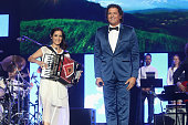Singers Julieta Venegas and Carlos Vives perform onstage during the 2015 Latin GRAMMY Person of the Year honoring Roberto Carlos at the Mandalay Bay...