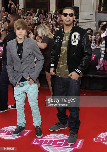 Singers Justin Bieber and Drake arrive on the red carpet of the 21st Annual MuchMusic Video Awards at the MuchMusic HQ on June 20 2010 in Toronto...