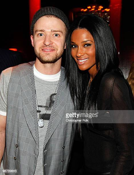 Singers Justin Timberlake and Ciara attend Timbaland's birthday party held at Drai's Hollywood on April 28 2010 in Hollywood California