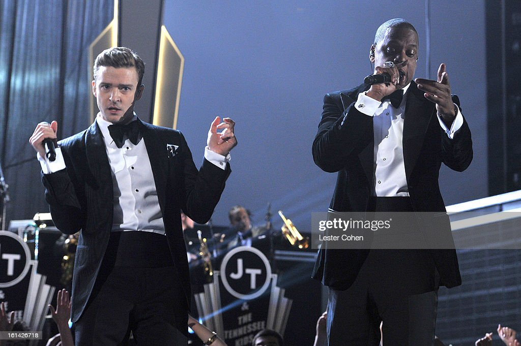 Singers Justin Timberlake (L) and Jay-Z on stage during the 55th Annual GRAMMY Awards at STAPLES Center on February 10, 2013 in Los Angeles, California.