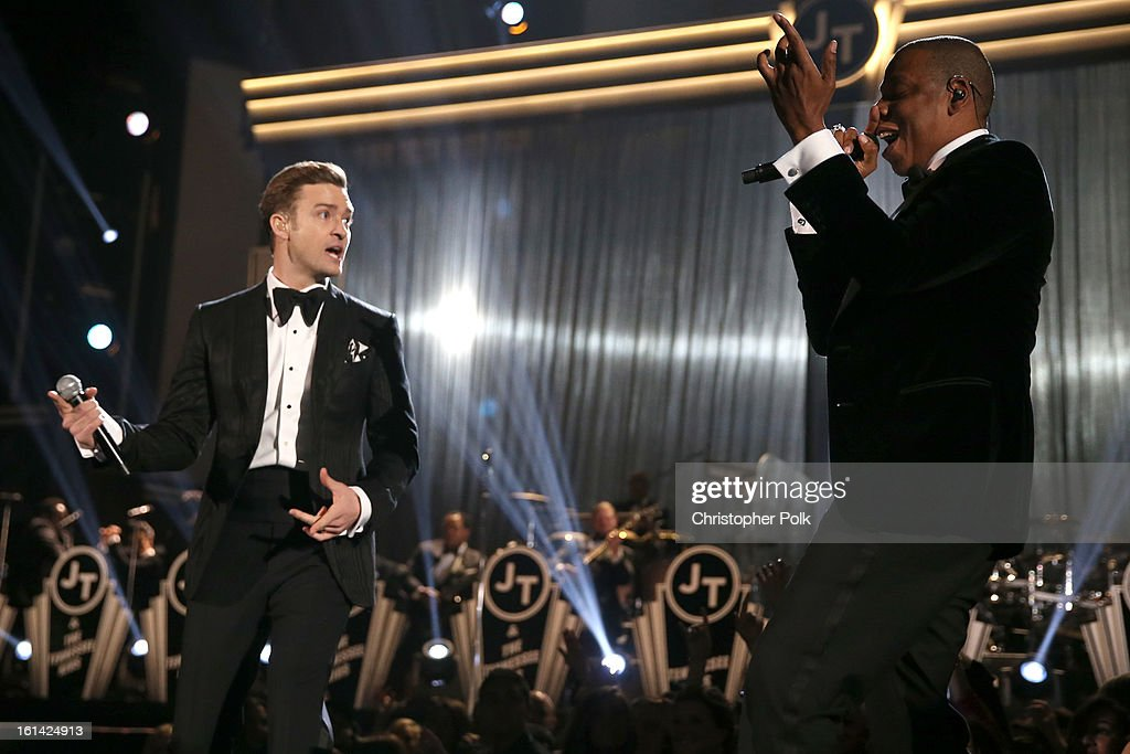 Singers Justin Timberlake and Jay-Z onstage during the 55th Annual GRAMMY Awards at STAPLES Center on February 10, 2013 in Los Angeles, California.