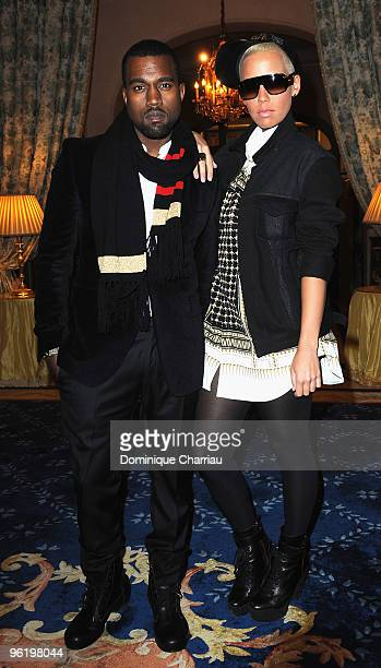 Singers Kanye West and Amber Rose attend the Givenchy Private cocktail party to honour Singer Ciara at Hotel Ritz on January 26 2010 in Paris France