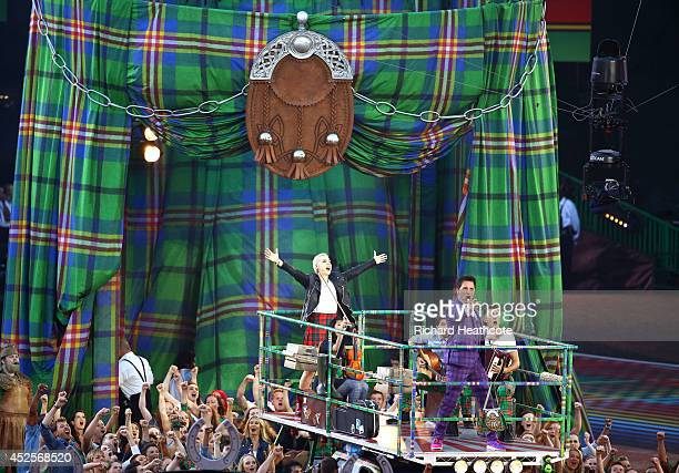 Singers Karen Dunbar and John Barrowman perform during the Opening Ceremony for the Glasgow 2014 Commonwealth Games at Celtic Park on July 23 2014 in...
