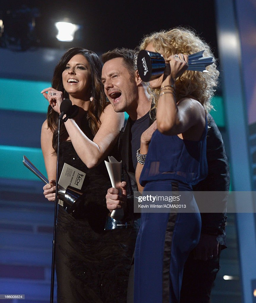 Singers Karen Fairchild, Jimi Westbrook and Kimberly Schlapman of Little Big Town accept the Vocal Group of the Year award onstage during the 48th Annual Academy of Country Music Awards at the MGM Grand Garden Arena on April 7, 2013 in Las Vegas, Nevada.