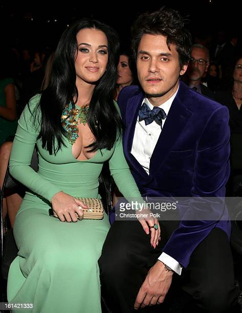 Singers Katy Perry and John Mayer attend the 55th Annual GRAMMY Awards at STAPLES Center on February 10 2013 in Los Angeles California