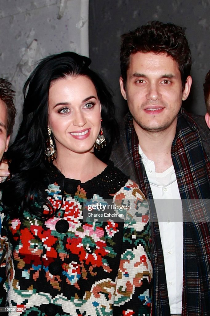 Singers Katy Perry And John Mayer visit the cast of Broadway's 'A Christmas Story, The Musical' at the Lunt-Fontanne Theatre on December 12, 2012 in New York City.