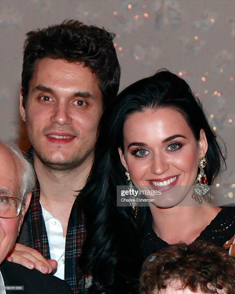 Singers <a gi-track='captionPersonalityLinkClicked' href=/galleries/search?phrase=Katy+Perry&family=editorial&specificpeople=599558 ng-click='$event.stopPropagation()'>Katy Perry</a> And <a gi-track='captionPersonalityLinkClicked' href=/galleries/search?phrase=John+Mayer&family=editorial&specificpeople=201930 ng-click='$event.stopPropagation()'>John Mayer</a> visit the cast of Broadway's 'A Christmas Story, The Musical' at the Lunt-Fontanne Theatre on December 12, 2012 in New York City.