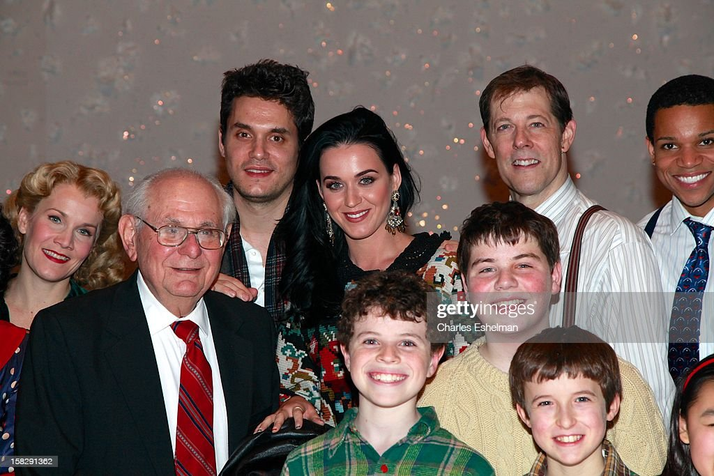 Singers <a gi-track='captionPersonalityLinkClicked' href=/galleries/search?phrase=Katy+Perry&family=editorial&specificpeople=599558 ng-click='$event.stopPropagation()'>Katy Perry</a> And <a gi-track='captionPersonalityLinkClicked' href=/galleries/search?phrase=John+Mayer&family=editorial&specificpeople=201930 ng-click='$event.stopPropagation()'>John Mayer</a> visit the cast of Broadway's 'A Christmas Story, The Musical'>> at the Lunt-Fontanne Theatre on December 12, 2012 in New York City.