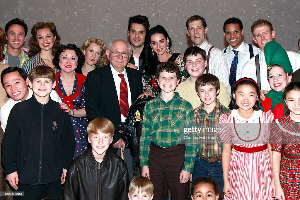 Singers <a gi-track='captionPersonalityLinkClicked' href=/galleries/search?phrase=Katy+Perry&family=editorial&specificpeople=599558 ng-click='$event.stopPropagation()'>Katy Perry</a> and <a gi-track='captionPersonalityLinkClicked' href=/galleries/search?phrase=John+Mayer&family=editorial&specificpeople=201930 ng-click='$event.stopPropagation()'>John Mayer</a> visit the cast of Broadway's 'A Christmas Story, The Musical> at the Lunt-Fontanne Theatre on December 12, 2012 in New York City.