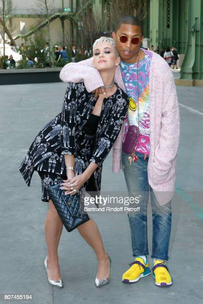 Singers Katy Perry and Pharrell Williams attend the Chanel Haute Couture Fall/Winter 20172018 show as part of Haute Couture Paris Fashion Week on...