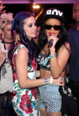 Singers Katy Perry and Rihanna attend DJ Calvin Harris performance during Day 3 of the 2012 Coachella Valley Music Arts Festival held at the Empire...