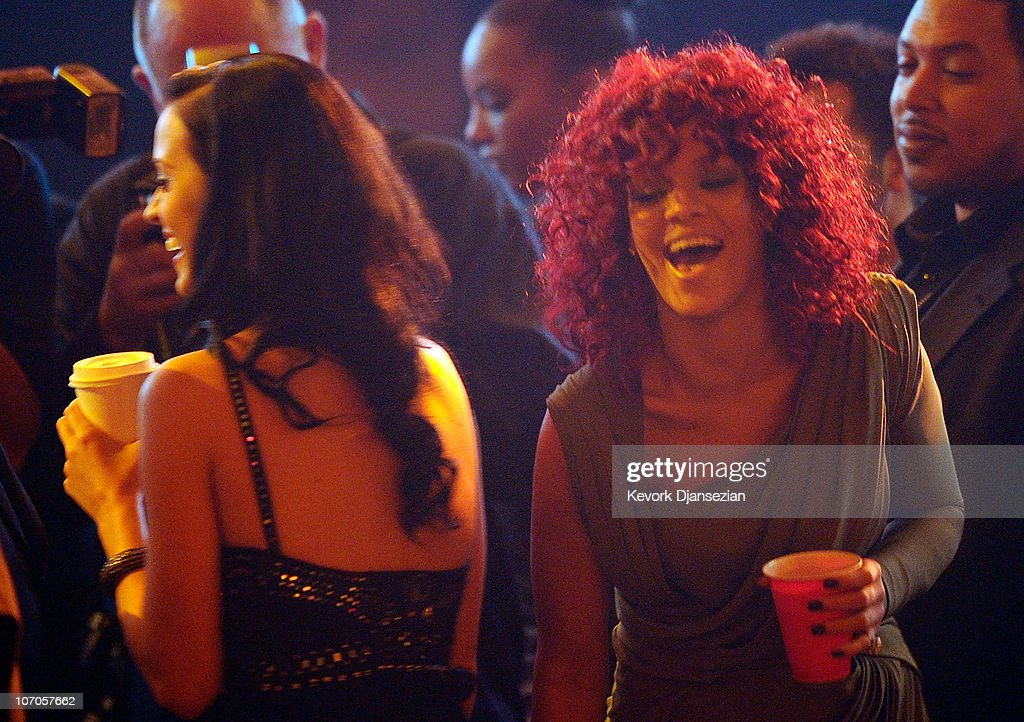 Singers Katy Perry and Rihanna in the audience during the 2010 American Music Awards held at Nokia Theatre L.A. Live on November 21, 2010 in Los Angeles, California.