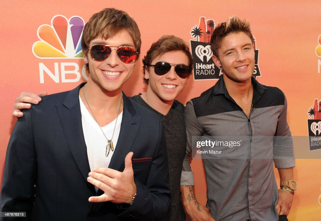Singers Keaton Stromberg, Wesley Stromberg and <a gi-track='captionPersonalityLinkClicked' href=/galleries/search?phrase=Drew+Chadwick&family=editorial&specificpeople=9720340 ng-click='$event.stopPropagation()'>Drew Chadwick</a> of Emblem3 attend the 2014 iHeartRadio Music Awards held at The Shrine Auditorium on May 1, 2014 in Los Angeles, California. iHeartRadio Music Awards are being broadcast live on NBC.