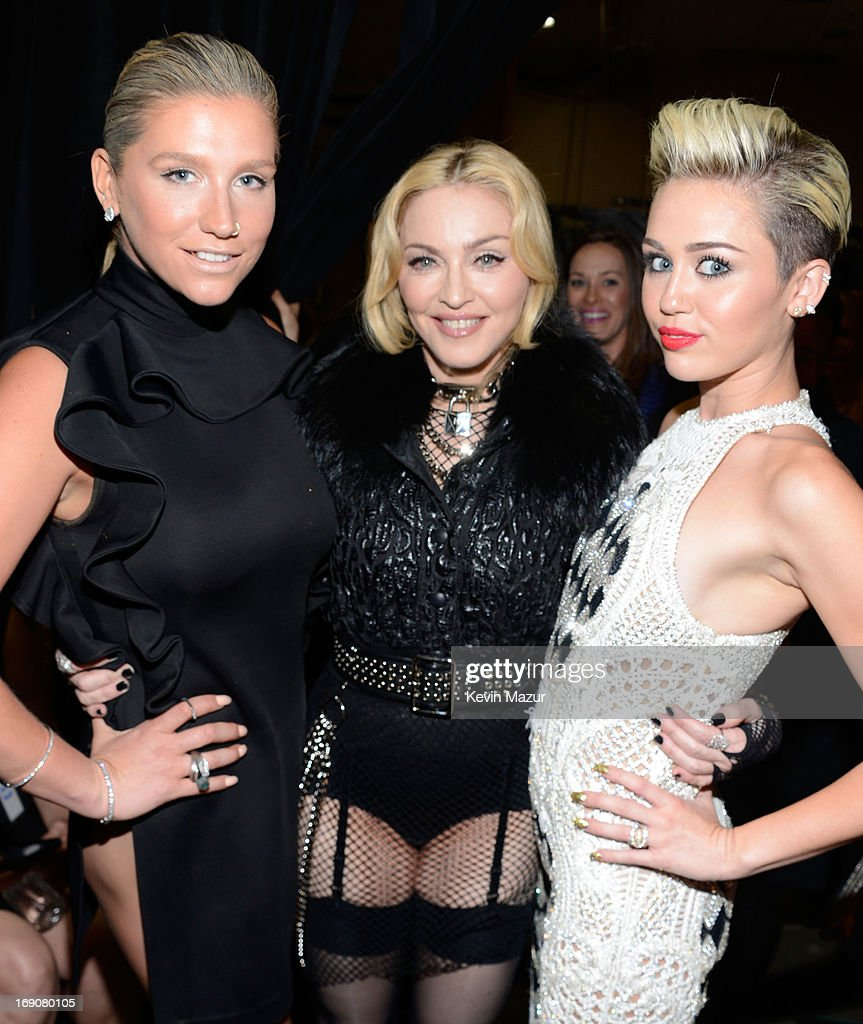 Singers Ke$ha, Madonna and Miley Cyrus attend the 2013 Billboard Music Awards at the MGM Grand Garden Arena on May 19, 2013 in Las Vegas, Nevada.
