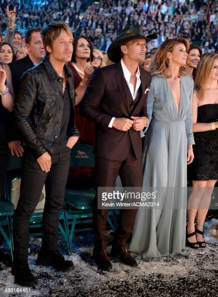 Singers Keith Urban Tim McGraw and Faith Hill attend the 49th Annual Academy of Country Music Awards at the MGM Grand Garden Arena on April 6 2014 in...