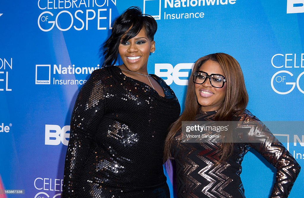 Singers Kelly Price (L) and Lil' Mo attend the BET 13th annual 'Celebration Of Gospel' at Orpheum Theatre on March 16, 2013 in Los Angeles, California.