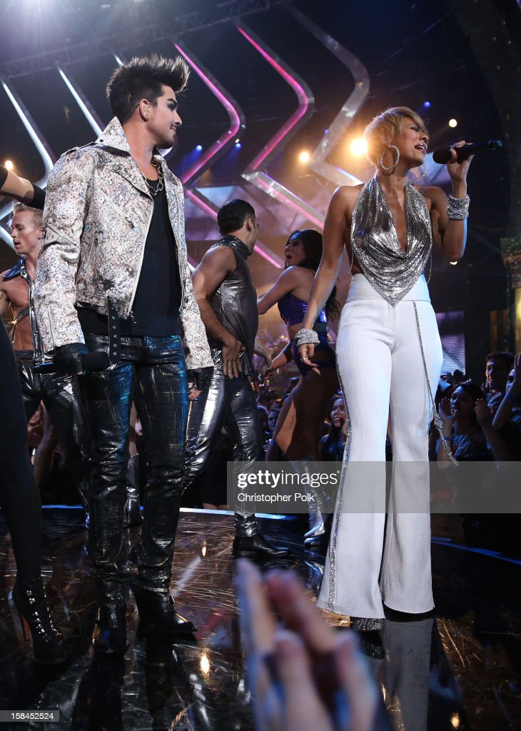 Singers Kelly Rowland, Adam Lambert and Keri Hilson perform onstage during 'VH1 Divas' 2012 at The Shrine Auditorium on December 16, 2012 in Los Angeles, California.