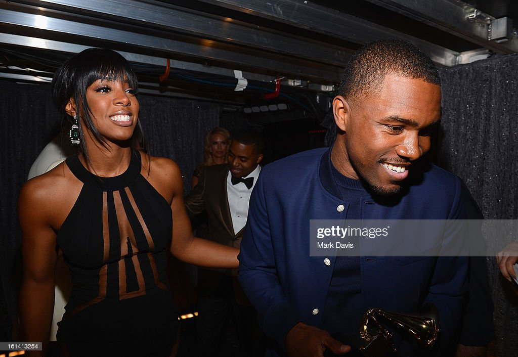 Singers Kelly Rowland and Frank Ocean attend the 55th Annual GRAMMY Awards at STAPLES Center on February 10, 2013 in Los Angeles, California.