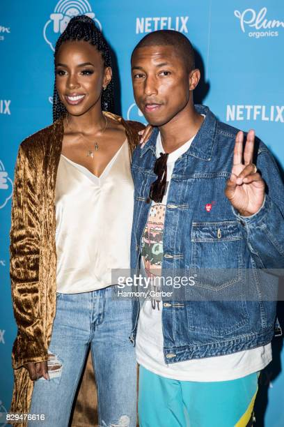 Singers Kelly Rowland and Pharrell Williams attend the Sneak Peek Of Netflix's 'True And The Rainbow Kingdom' at Pacific Theatres at The Grove on...