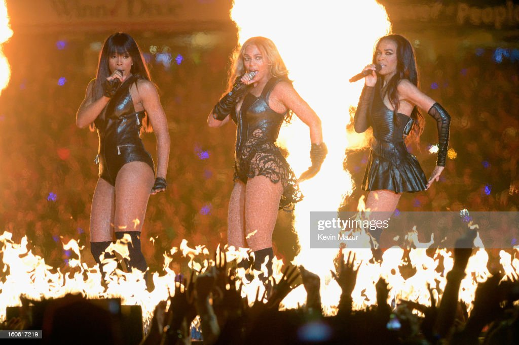 Singers Kelly Rowland, Beyonce and Michelle Williams of Destiny's Child perform during the Pepsi Super Bowl XLVII Halftime Show at Mercedes-Benz Superdome on February 3, 2013 in New Orleans, Louisiana.