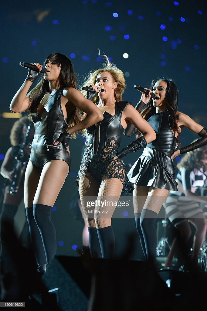 Singers <a gi-track='captionPersonalityLinkClicked' href=/galleries/search?phrase=Kelly+Rowland&family=editorial&specificpeople=201760 ng-click='$event.stopPropagation()'>Kelly Rowland</a>, Beyonce and Michelle Williams of Destiny's Child perform during the Pepsi Super Bowl XLVII Halftime Show at Mercedes-Benz Superdome on February 3, 2013 in New Orleans, Louisiana.