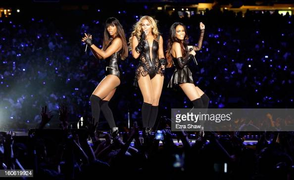 Singers Kelly Rowland Beyonce and Michelle Williams perform during the Pepsi Super Bowl XLVII Halftime Show at the MercedesBenz Superdome on February...