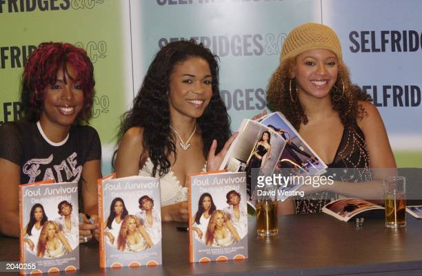 RB singers Kelly Rowland Michelle Williams and Beyonce Knowles from Destiny's Child attend the book launch of the band's autobiography 'Soul...
