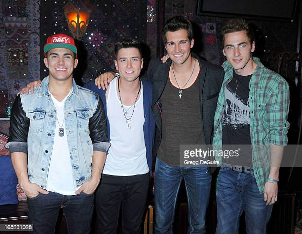 Singers Kendall Schmidt James Maslow Carlos Pena Jr and Logan Henderson of Big Time Rush attend their press conference and tour announcement at House...
