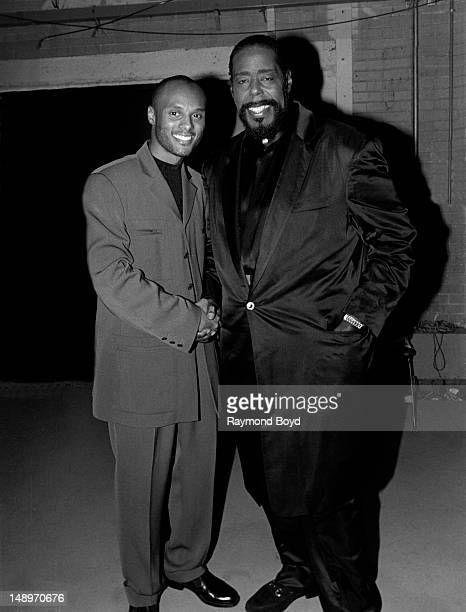 Singers Kenny Lattimore and Barry White poses for photos backstage after their performances at the Arie Crown Theater in Chicago Illinois in JUNE 1996