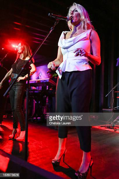 Singers Keren Woodward and Sara Dallin of Bananarama perform at Hard Rock Cafe's 13th Annual 'PINKTOBER' Breast Cancer Awareness Campaign at Hard...