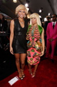 Singers Keri Hilson and Nicki Minaj arrive at the 2010 American Music Awards held at Nokia Theatre LA Live on November 21 2010 in Los Angeles...