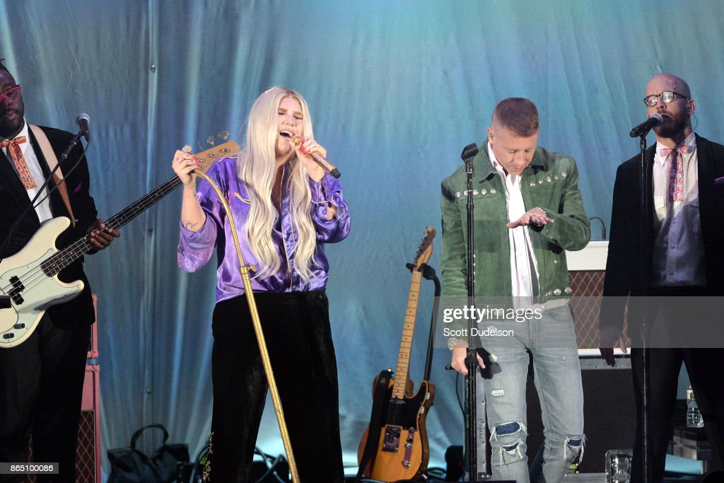 Singers Kesha (L) and Macklemore (R) perform onstage during the 5th annual 'We Can Survive' benefit concert presented by CBS Radio at the Hollywood Bowl on October 21, 2017 in Hollywood, California.