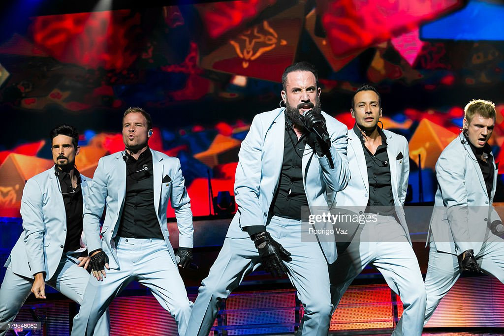 Singers Kevin Richardson, <a gi-track='captionPersonalityLinkClicked' href=/galleries/search?phrase=Brian+Littrell&family=editorial&specificpeople=215310 ng-click='$event.stopPropagation()'>Brian Littrell</a>, <a gi-track='captionPersonalityLinkClicked' href=/galleries/search?phrase=AJ+McLean&family=editorial&specificpeople=208803 ng-click='$event.stopPropagation()'>AJ McLean</a>, <a gi-track='captionPersonalityLinkClicked' href=/galleries/search?phrase=Howie+Dorough&family=editorial&specificpeople=204770 ng-click='$event.stopPropagation()'>Howie Dorough</a> and <a gi-track='captionPersonalityLinkClicked' href=/galleries/search?phrase=Nick+Carter&family=editorial&specificpeople=201755 ng-click='$event.stopPropagation()'>Nick Carter</a> of Backstreet Boys perform at Backstreet Boys In Concert at Gibson Amphitheatre on September 4, 2013 in Universal City, California.
