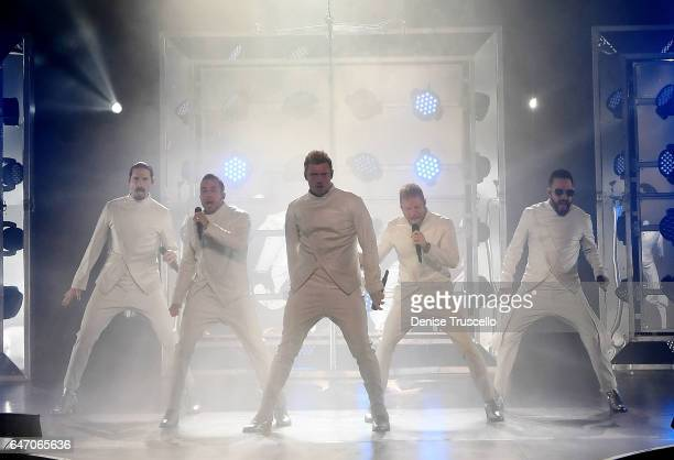 Singers Kevin Richardson Howie Dorough Nick Carter Brian Littrell and AJ McLean of the Backstreet Boys perform during the launch of the group's...