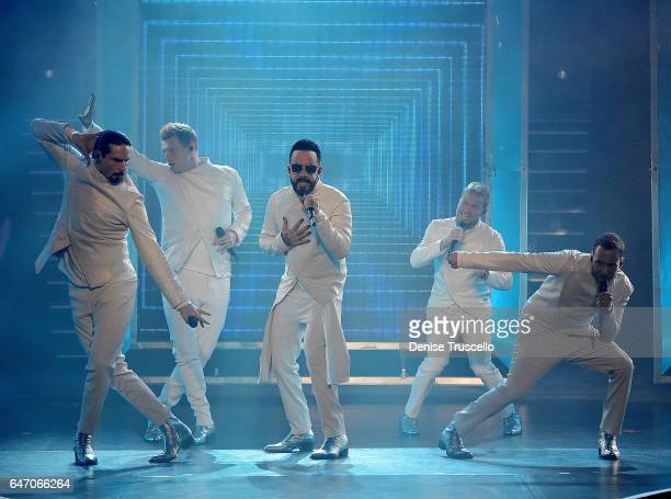 Singers Kevin Richardson Nick Carter AJ McLean Brian Littrell and Howie Dorough of the Backstreet Boys perform during the launch of the group's...