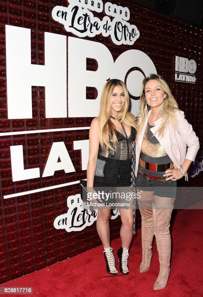Singers Kim Viera and Fey attend HBO Latino x Pedro Capo En Letra de Otro at La Marina Restaurant Bar Beach Lounge on August 9 2017 in New York City