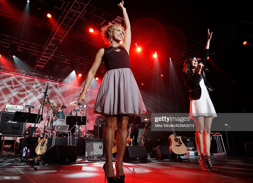 Singers Kimberly Schlapman and Karen Fairchild of Little Big Town perform onstage at the All Star Jam during the 48th Annual Academy Of Country Music Awards at the MGM Grand Hotel/Casino on April 7, 2013 in Las Vegas, Nevada.