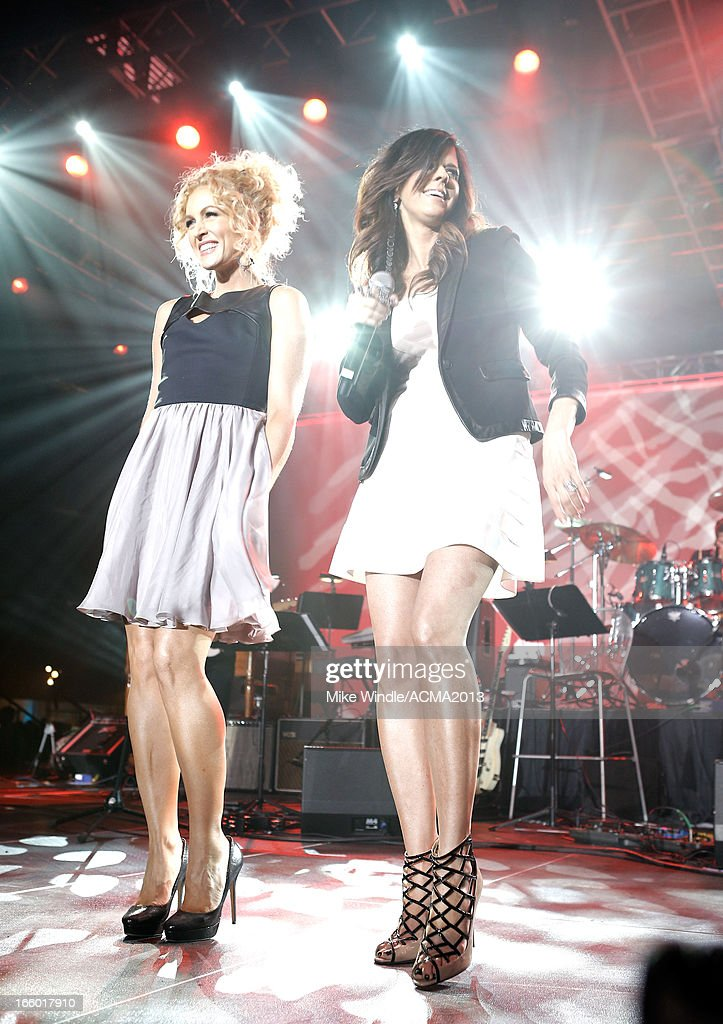 Singers Kimberly Schlapman and Karen Fairchild of Little Big Town performs onstage at the All Star Jam during the 48th Annual Academy Of Country Music Awards at the MGM Grand Hotel/Casino on April 7, 2013 in Las Vegas, Nevada.