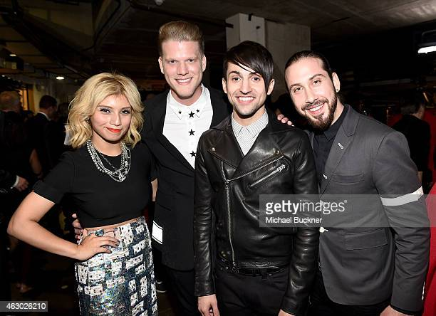 Singers Kirstin Maldonado Scott Hoying Mitch Grassi and Avi Kaplan of Pentatonix attends The 57th Annual GRAMMY Awards at STAPLES Center on February...