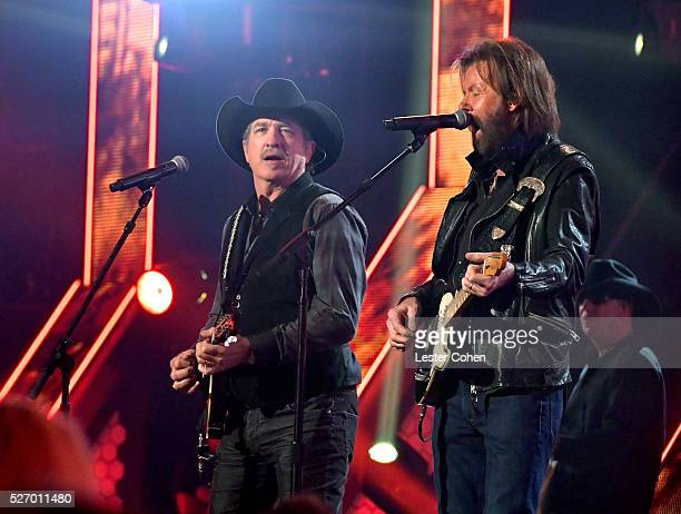 Singers Kix Brooks and Ronnie Dunn of Brooks Dunn perform onstage during the 2016 American Country Countdown Awards at The Forum on May 1 2016 in...