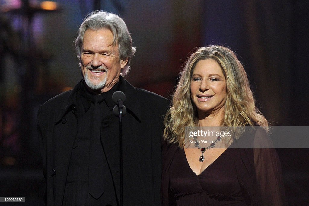 Singers <a gi-track='captionPersonalityLinkClicked' href=/galleries/search?phrase=Kris+Kristofferson&family=editorial&specificpeople=206202 ng-click='$event.stopPropagation()'>Kris Kristofferson</a> (L) and <a gi-track='captionPersonalityLinkClicked' href=/galleries/search?phrase=Barbra+Streisand&family=editorial&specificpeople=200745 ng-click='$event.stopPropagation()'>Barbra Streisand</a> speak onstage during The 53rd Annual GRAMMY Awards held at Staples Center on February 13, 2011 in Los Angeles, California.