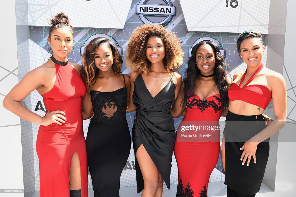 Singers Kristal Lyndriette, Ashley Williams, Shyann Roberts, Brienna DeVlugt and Gabby Carreiro of June's Diary attend the 2016 BET Awards at the Microsoft Theater on June 26, 2016 in Los Angeles, California.