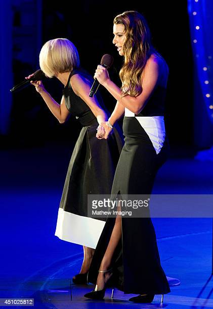 Singers Kristin Chenoweth and Lea Michele onstage at the 15th Annual Hollywood Bowl Hall of Fame and Opening Night Concert on Saturday June 21 2014...