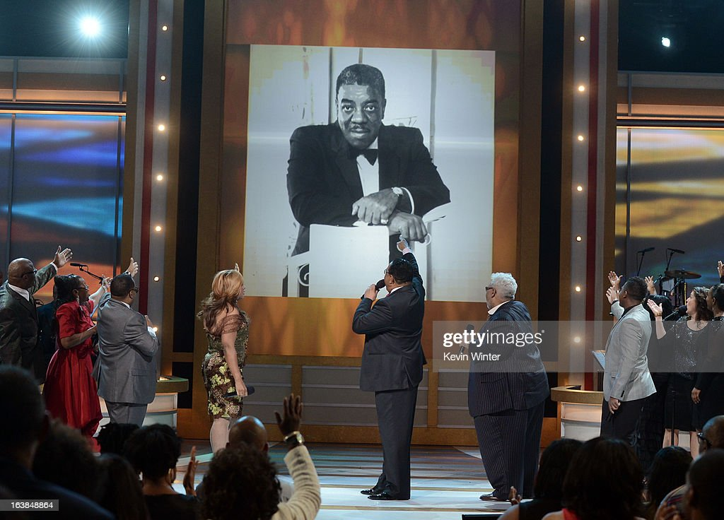 Singers Kurt Carr, Betty Griffin Keller, Dr. Bobby Jones, Rance Allen, and Joshua Rogers perform onstage during the BET Celebration of Gospel 2013 at Orpheum Theatre on March 16, 2013 in Los Angeles, California.